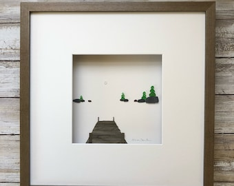 Cottage style Pebble Art, Original Art by Sharon Nowlan. Matted or framed, 12in x 12in dock on the lake