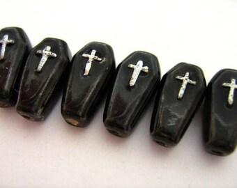 4 Tiny Coffin Beads
