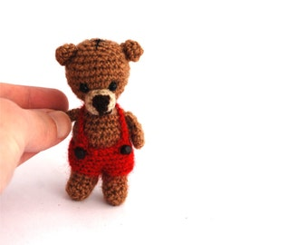 miniature bear, crochet little toy, gift for children, small bear, little amigurumi bear, brown bear with red short, crochet, amigurumi doll