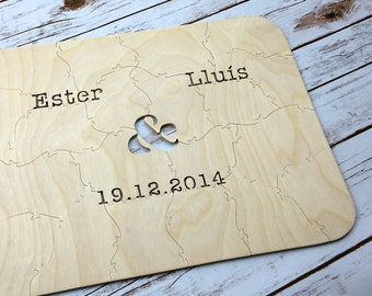 130 pc Wedding Guest Book Puzzle, guestbook alternative, wedding AMPERSAND puzzle guest book, Bella Puzzles™ rustic bohemian wedding