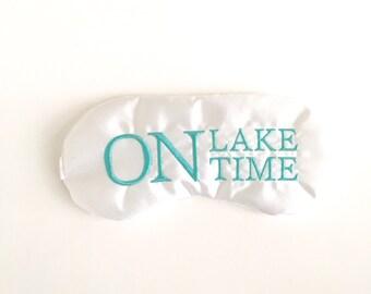ON LAKE TIME sleep mask with adjustable elastic • Nautical sleep mask • Lake house summer favor • Summer sleep mask • Destination wedding