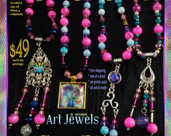 Art Jewel Necklace Handmade Jewelry Gifts - Fuchia Set