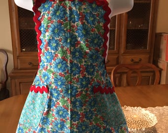 Child's apron - size 3-4 - blue with red rick rack