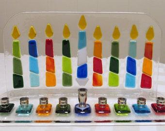Fused Glass Menorah, Hanukkah Menorah with Colorful Hanukkah Candles, Chanukia, Jewish Wedding Glass Gift, Hanukkah Gift