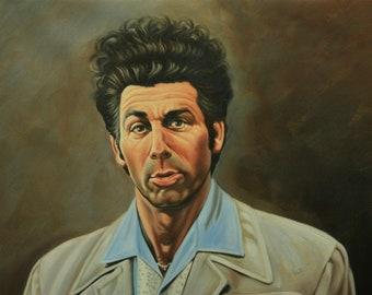 "Seinfeld Cosmo Kramer reproduction painting, 24x36"". 100% money back guarantee"