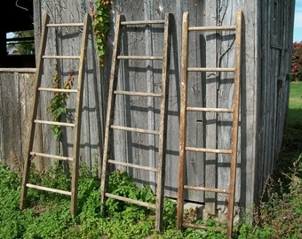 "Antique Wood Ladder with 6 Rungs - 72"" long - Choose a Vintage Surface or Pick a Color"