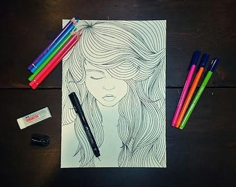 "Girl, ""Innocence"" - PDF Only, Printable Colouring Page"
