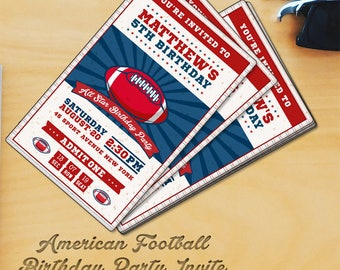 Football Birthday Party Vertical Invitation Template 2
