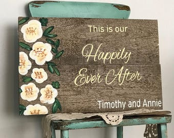Wedding welcome sign, happily ever after, personalized wedding gift for couple, bridal shower gift, rustic wedding signs, anniversary gift,