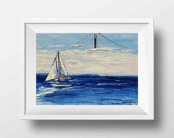 California Art, San Francisco Bay, Landscape Print, Golden Gate Bridge, Sailboats, Fog, Yacht, California, Free Easel, 8x10 Artwork