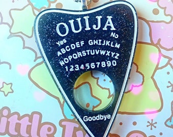 Ouija Black, Pastel Pink or Green Planchette Necklace