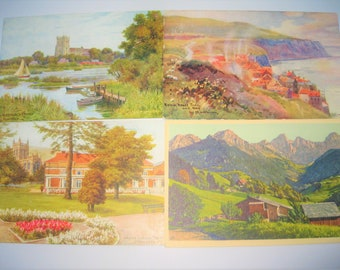 Four Vintage Postcards, three from UK and one from Switzerland