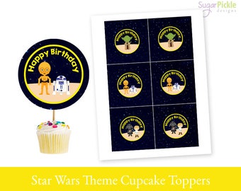 Star Wars Cupcake Toppers, Star Wars Birthday, Star Wars Birthday Toppers, Star Wars Toppers, Star Wars Party Decorations - 2.25 inch