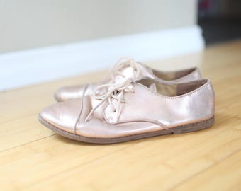 vintage champagne gold gap lace up oxfords flats womens shoes 5