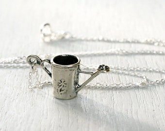 Sterling Silver Watering Can Necklace, Gardening Necklace