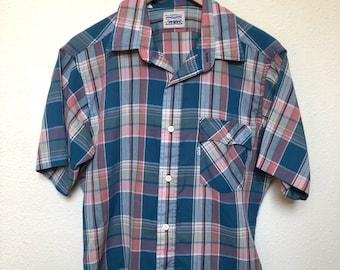 Vintage Levi Strauss men shirt, Levi's plaid shirt, 80s Levi shirt 1980s vtg, pink blue plaid pastel, Levi white tab, soft thin shirt, large