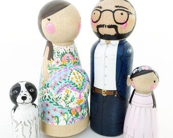 expectant peg doll family 4 // Pregnant // Bun in the Oven // pregnancy announcement peg family // custom peg family of 4 w/pregnant belly