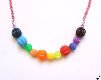 Kitsch Chunky Colourful Bead Necklace - no.01 - color, rainbow, quirky, bold, statement necklace, bright, jewelery