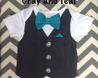 2 for Twins Comfortable Baby Boy Vest/Bow tie Outfit PLUS Pocket Square INCLUDES pants for Weddings, Special Occasions long sleeves