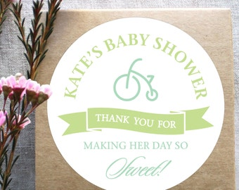 Personalized Tricycle Baby Shower Labels, Circle Labels, Baby Shower Favor, Printable Baby Shower Stickers, Baby Boy Shower Labels Template