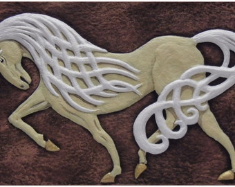 Celtic Steed  - Cast Paper - Celtic Horse - Horse - Irish art - Celtic art - Pony - Epona - Rhiannon
