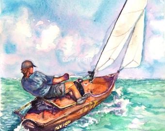 "Original Water Color Painting, Landscape-Sailing Alone, 14""x11"" , 0906167"