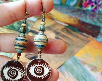Mixed Landscape Nature Book Paper Bead Earrings Color Drops with Heartstone Gallery Ceramic Charms