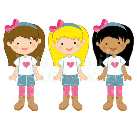 little denim girl cute digital clipart cute girl in denim rh etsy com girls clipart girl clipart image