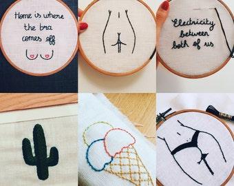 Custom order, handmade and framed embroidery