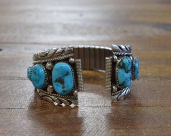 Vintage Navajo Turquoise Sterling Silver Watch Band