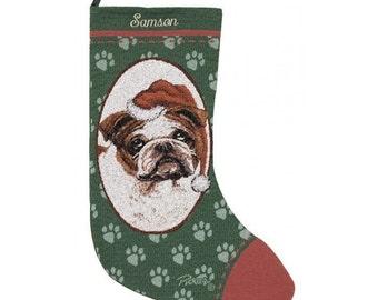 Bulldog Dog Personalized Christmas Stocking