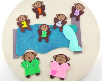 Felt Five Little Monkeys, Quiet Activity Toys, Waldorf or Montessori,  Travel Toys for Kids, Learning Felt Activity, Felt Educational Toys