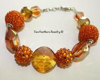 Orange Bracelet - Beaded Bracelet - Glass Bracelet - Rhinestone Bracelet - Gift For Her - Bold Statement Jewelry - Tangerine Bracelet
