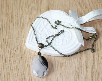 Tourmaline, quartz,  pendant, necklace, self confidence