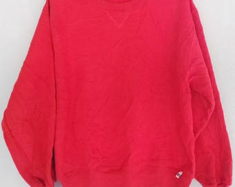 Vintage Russell Athletic Sweatshirt Russell Pullover Red Crewneck  Sweater Made in USA