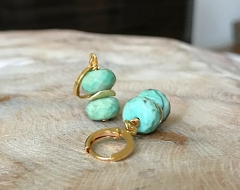 Moss Green Opal Earrings in Gold