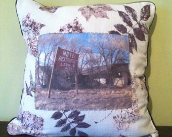 "One of a kind 18x18"" throw pillow made with vintage fabric featuring original roadside motel photograph"