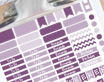 Shades of plum basic planner stickers