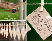 Wedding Name Place, Table, or Escort Cards, Shabby Chic, Kraft Paper: Vintage Romantic Featured in Seacoast Weddings Mag, Wedding Chicks