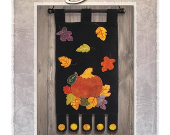 "PATTERN - ""October Night"" wool applique' banner."