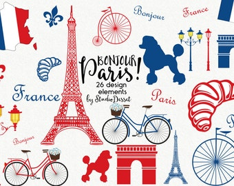France Cliparts, Paris Clip Art, Eiffel Tower Clipart Poodle, Bicycle Cliparts, French Illustrations, Digital Craft Supplies C203