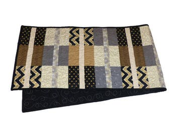 Black and Gold Quilted Table Runner
