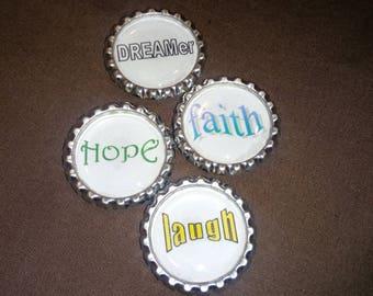 Inspirational Words Bottle Cap Magnets -  4 pc Set