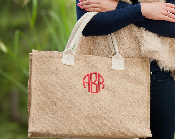 Burlap Tote, Wedding Tote, Monogrammed Tote Bag, Teacher Bag, Work Tote Bag, Travel Bag, Monogrammed Purse, Burlap Bag