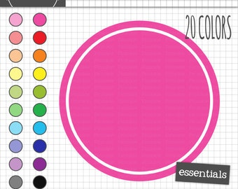 Circle Digital Frames, Round Digital Labels and Tags, Scrapbook Clipart, Instant Download, Commercial Use