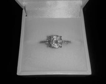 Cubic Zirconia Sterling Silver Ring size 7.5 US & O UK comes in ring box