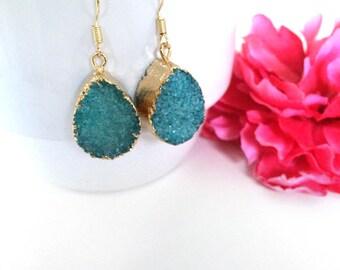 blue druzy stone earrings - druzy jewelry - gold dipped drusy stone - agate stone earrings - raw gemstone