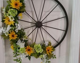 Bicycle wheel door wreath