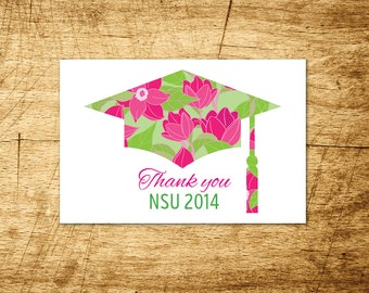 Floral Lilly Pulitzer printable graduation thank you card