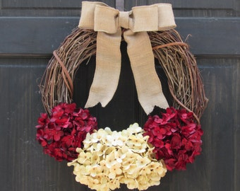 Burgundy Red and Cream Artificial Hydrangea Grapevine Holiday Wreath for Rustic Valentines Day Christmas Front Door Porch Decor